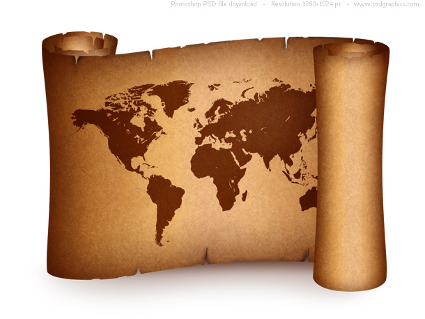 old world map on vintage paper scroll | psdgraphics, Powerpoint templates
