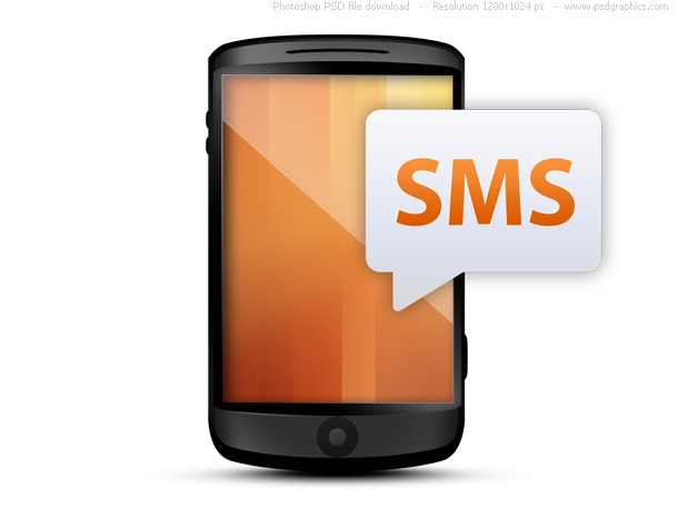cellphone with text message bubble  psd