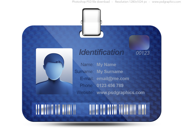 Name tag icon blue identification card psd psdgraphics name tag icon blank name tag file format psd color theme blue silver keywords work badge template security id pass plastic id card on white with reheart Choice Image