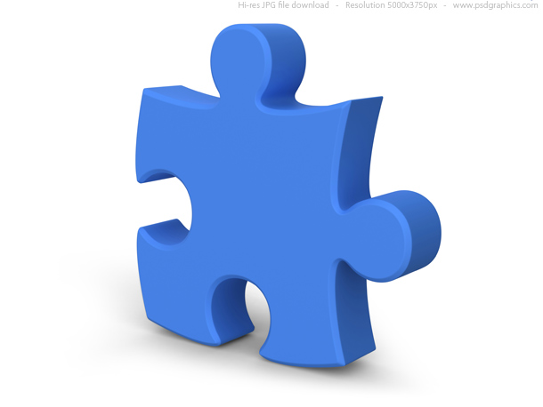 An IDIC15 blue puzzle piece