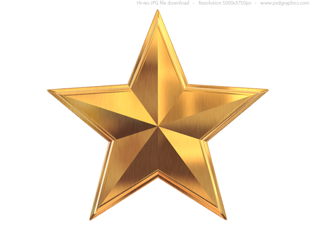 Gold silver and bronze metal stars