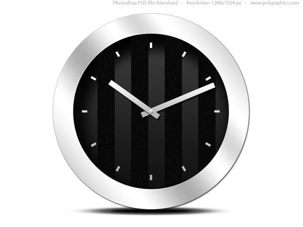 Modern Black Clock Icon PSD