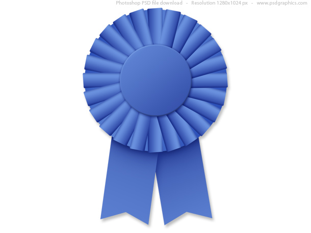 1st prize ribbon template - blue ribbon rosette psd psdgraphics