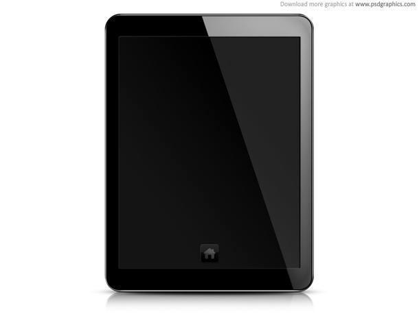blank screen white. Tablet PC, lank screen PSD