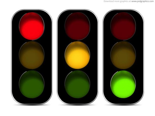 red orange green spotlights