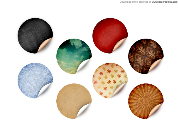 Round Retro Stickers PSD Template