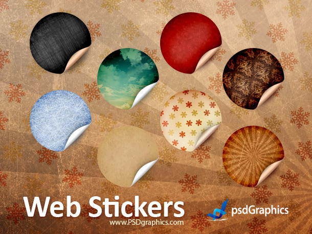 round retro stickers