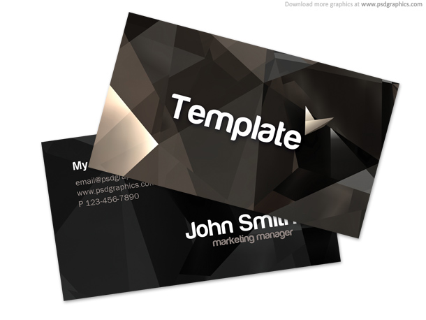 Black Crystals Business Card Design Two Sided Template