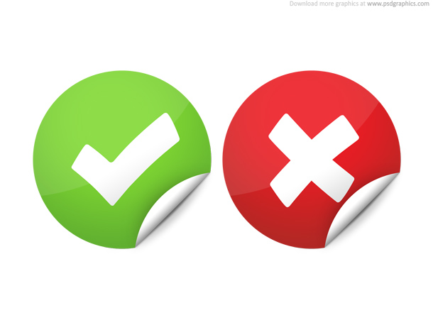 Right and wrong check marks PSD download and upload icons PSD round