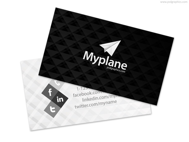 Black and white business card template psdgraphics for Business card template black