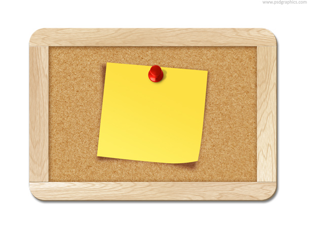 note pinned to corkboard