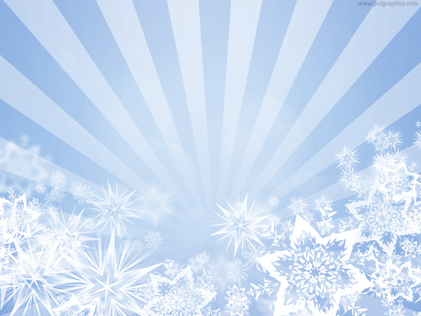 Blue snowflakes design, abstract bright winter background