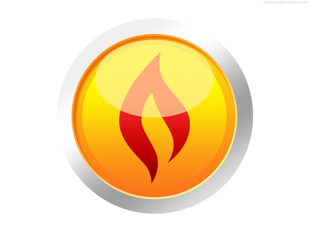 Yellow fire button, flame shape symbol
