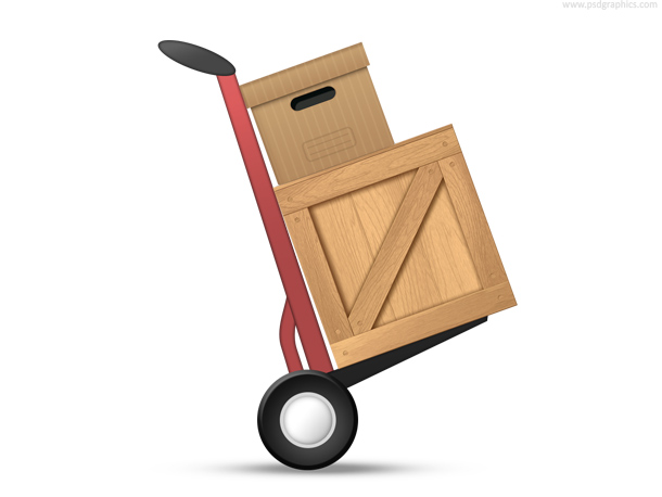 Hand truck loaded with boxes, PSD icon