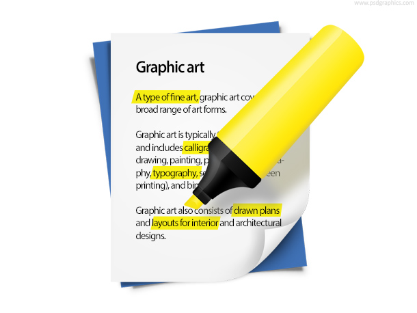 Highlighted text on paper with yellow highlighter