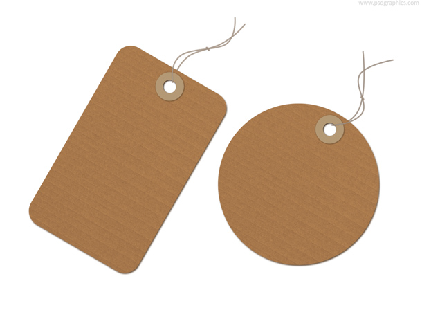 Recycled paper tag, blank cardboard label