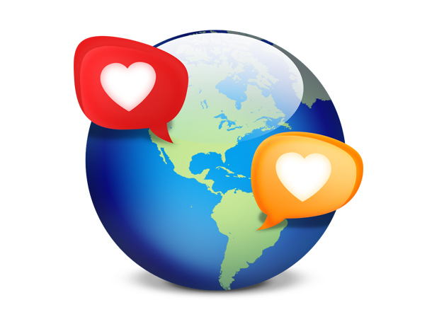 Social network dating icon, globe with hearts