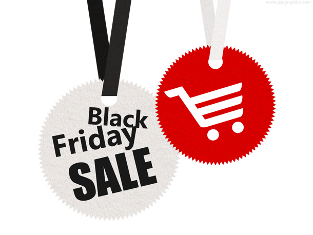 Black Friday, round paper sale tags templates