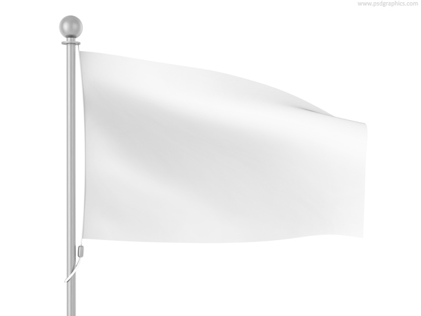 Blank white wavy flag template