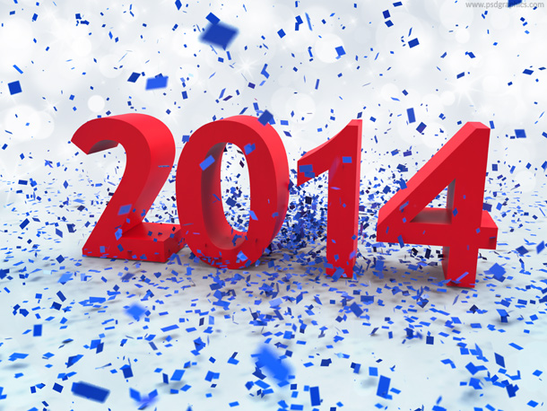 Year 2014 with blue confetti decoration