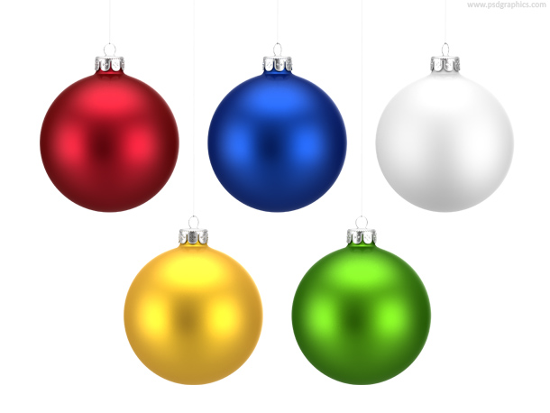 Colorful Christmas balls set (PNG)