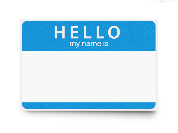 Hello my name is, blank name tag
