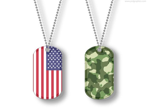 USA and camouflage dog tags