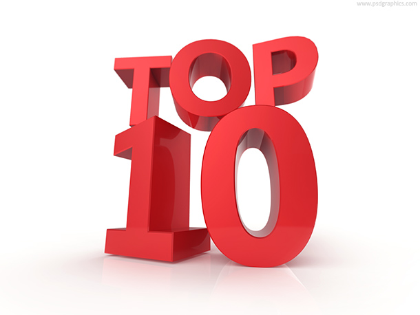 Top 10 and top 100 signs red color 3d style letters against bright