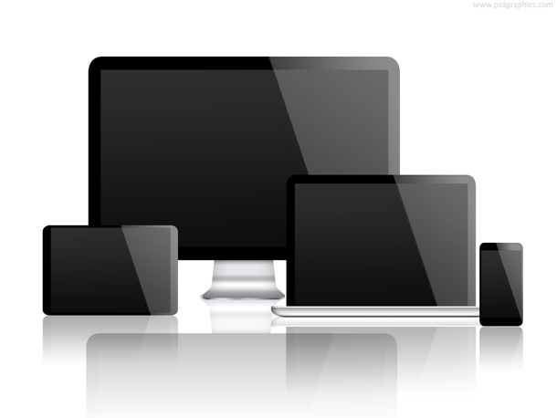 Computer, laptop, tablet and smartphone