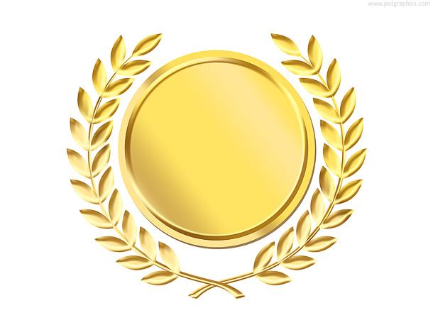 Gold laurel wreath medal template (PSD)