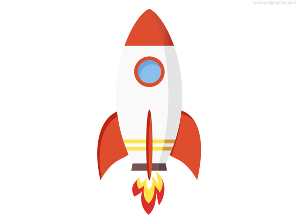simple launching or flying rocket icon in white and orange colors ...: www.psdgraphics.com/psd/rocket-icon-psd