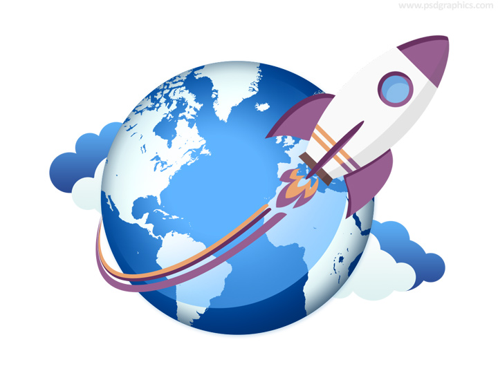 World map psdgraphics rocket taking off icon gumiabroncs Image collections