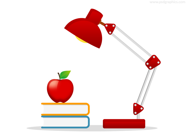 Books, apple and lamp