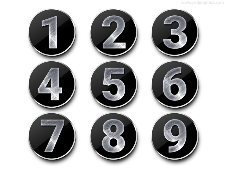 Metal Numbers Template Psd  Psdgraphics