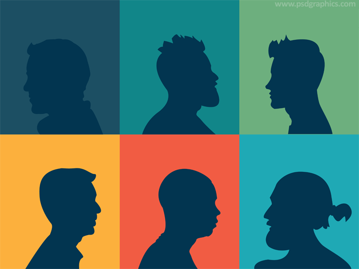 Men heads silhouettes