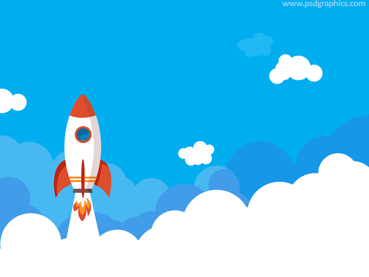 Rocket launching business illustration