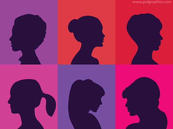 Women heads profiles vector