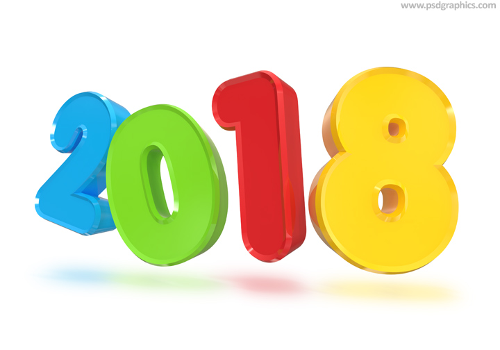 New Year 2018 3d Sign Psdgraphics