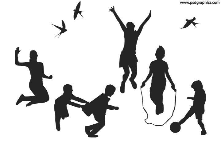Playful children silhouettes