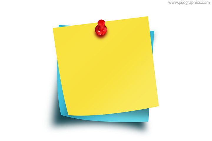 Sticky notes with thumbtack