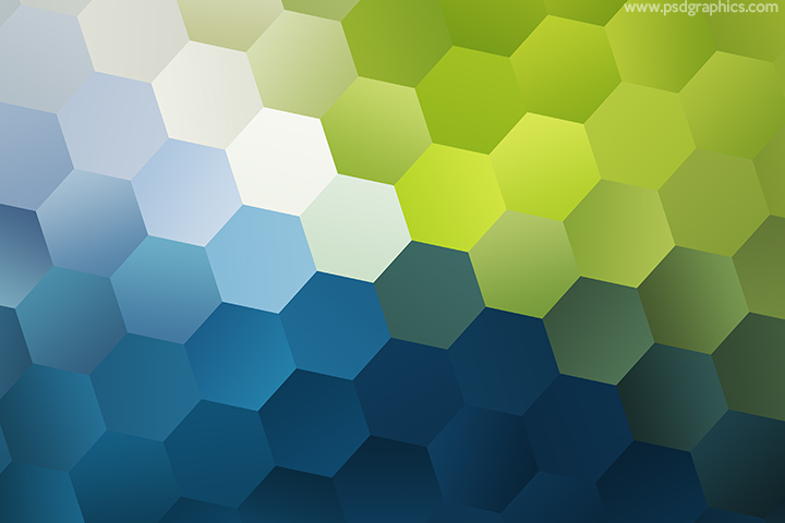 Green and blue hexagons pattern