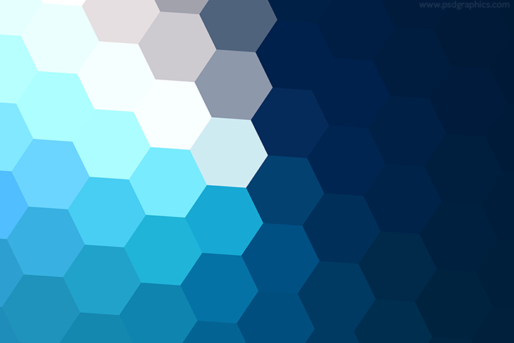 Winter hexagons background