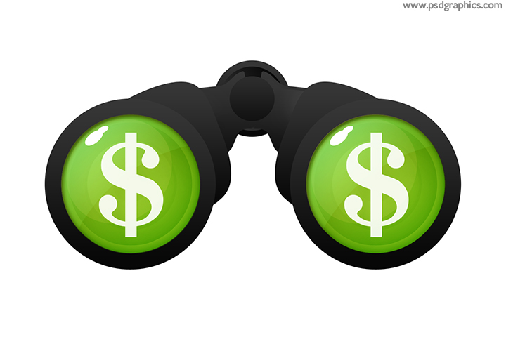 Dollar binoculars icon PSD