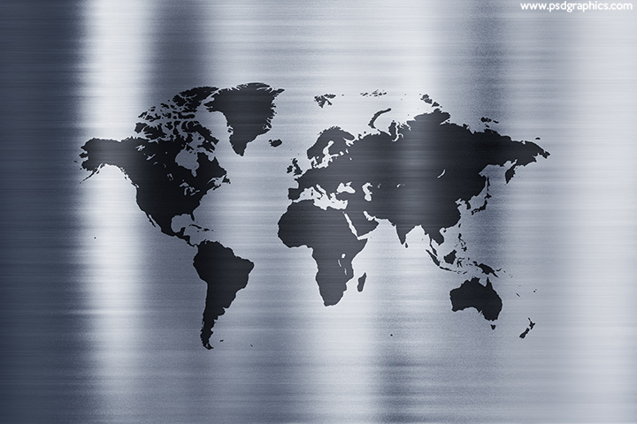 Metal world map background
