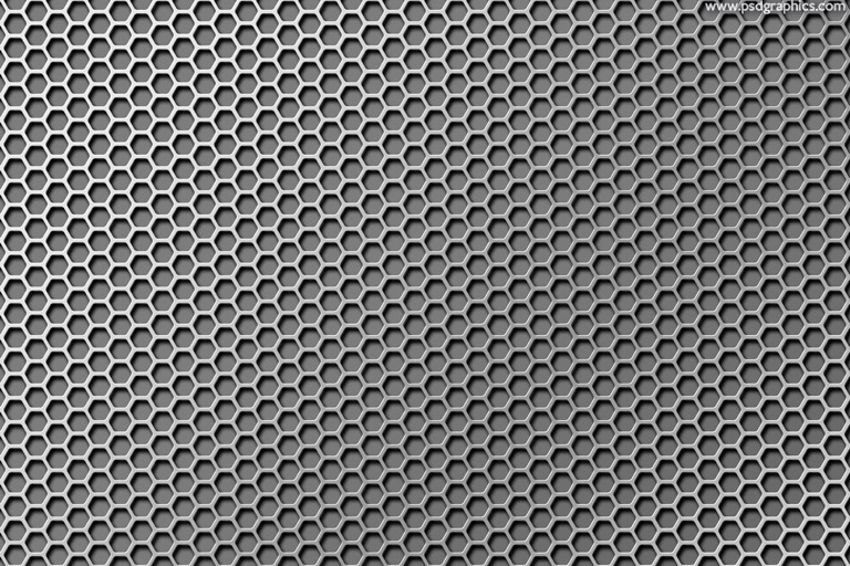 Hexagon shapes gray metal grid texture