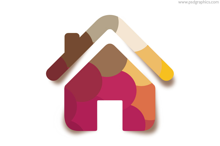Pink color flat home icon with shadow PSD