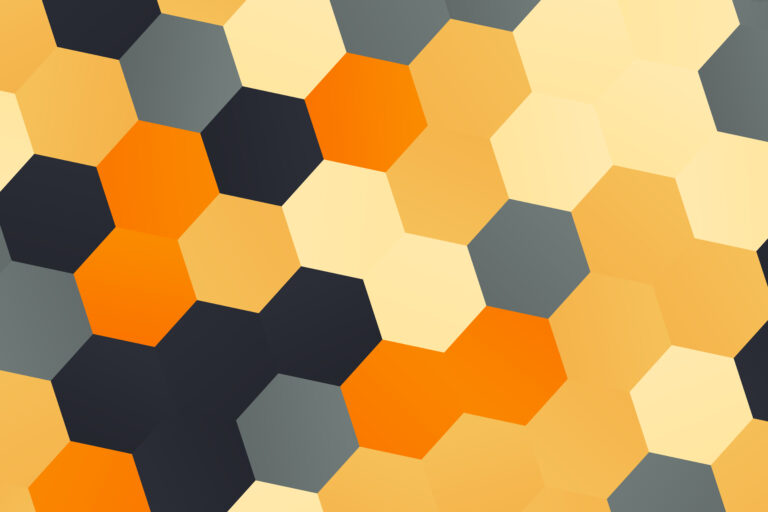 Retro brown and yellow hexagons shapes pattern