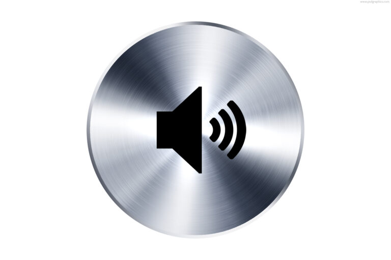 Round silver metal button with a black sound speaker outline symbiol, PSD icon