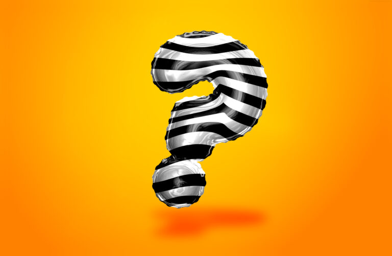 Zebra pattern style question mark symbol on the orange background