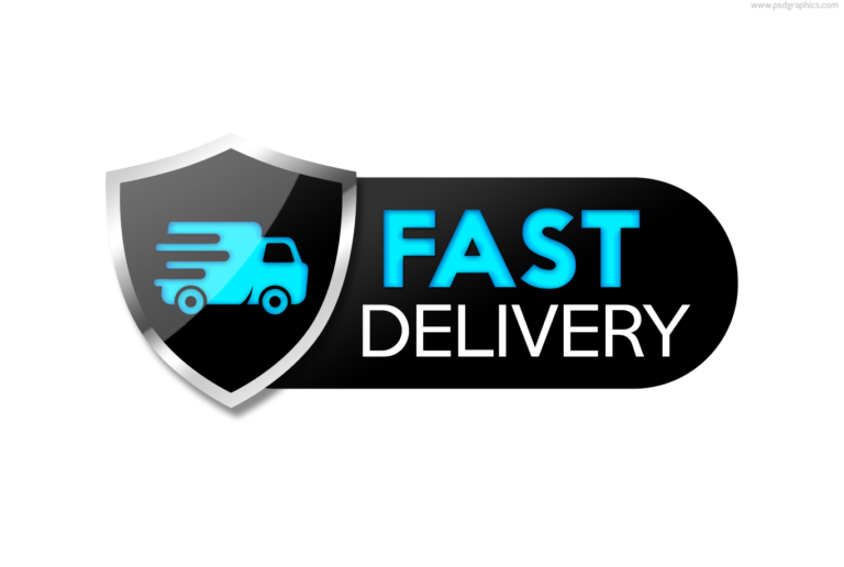 Fast delivery service icon, black shield with a truck symbol, PSD format